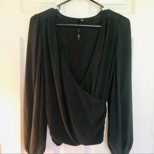 Black deep V Bellatrix size S long sleeve blouse